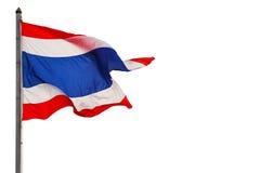 Fondo bianco isolato tailandese della bandiera fotografia stock