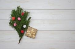 Fondo bianco per le cartoline di Natale Fotografie Stock