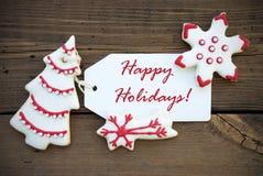 Fondo bianco rosso di inverno con i saluti felici di festa Fotografia Stock