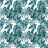 Fondo bianco senza cuciture di colore astratto tropicale delle foglie Fotografie Stock Libere da Diritti