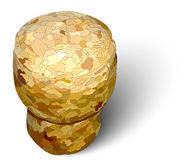 Fondo bianco sinistro del sughero di Champagne fotorealistico Fotografia Stock
