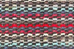 Fondo bianco a strisce nero del tessuto di rosso blu Fotografia Stock