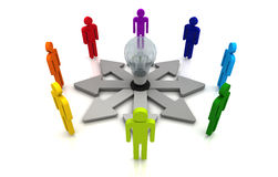 Fondo bianco variopinto di lavoro di squadra di direzione di concetto di collegamento umano della lampadina Immagine Stock