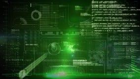 Fondo binario del verde del interfaz digital