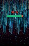 Fondo binario della matrice Barra di caricamento futuristica di progresso Cifre di caduta sul contesto blu scuro royalty illustrazione gratis