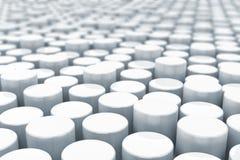 Fondo blanco abstracto de los cilindros con profundidad de ilustración del vector