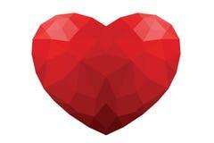Fondo blanco aislado corazón rojo del polígono Foto de archivo