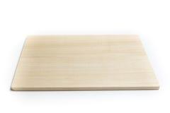 Fondo blanco aislado de madera de la tajadera Fotografía de archivo