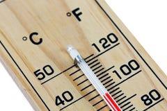Fondo blanco aislado escala de madera del termómetro del primer Fotos de archivo