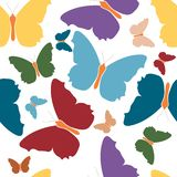 Fondo blanco aislado logotipo colorido del icono de la mariposa Alas violetas amarillas azulverdes rojas del símbolo del color He libre illustration
