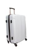 Fondo blanco aislado maleta que viaja del equipaje blanco Fotografía de archivo libre de regalías