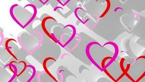 Fondo blanco animado con los corazones rojos stock de ilustración