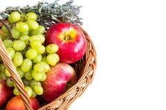Fondo blanco con las manzanas rojas maduras, secas Fotos de archivo libres de regalías