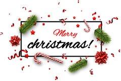 Fondo blanco de Feliz Navidad con confeti Fotos de archivo