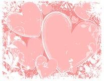 Fondo blanco de Grunge de los corazones rosados Imagen de archivo