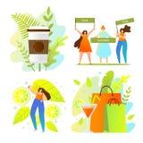 Fondo blanco de la decoración floral colorida del verano libre illustration
