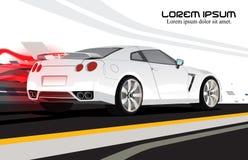 Fondo blanco de la luz de la cola del vector del coche de competición Fotografía de archivo libre de regalías