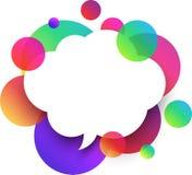 Fondo blanco de la nube del discurso con las burbujas del color Fotos de archivo libres de regalías
