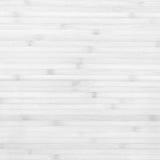 Fondo blanco de la textura del tablón de bambú de madera Fotografía de archivo