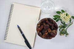 Fondo blanco del cuaderno de las flores de las palmas datileras foto de archivo