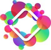 Fondo blanco del Rhombus con los círculos de color Imagenes de archivo