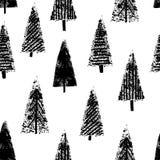Fondo blanco inconsútil dibujado mano de los árboles de navidad Imagenes de archivo