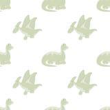 Fondo blanco inconsútil Dinosaurios Foto de archivo libre de regalías