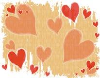 Fondo blanco rojo del corazón de Grunge Foto de archivo