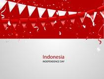Fondo blanco rojo del saludo de August Happy Independence Day del diseño de concepto del confeti Ejemplo del vector de la celebra Fotografía de archivo libre de regalías