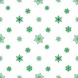 Fondo blanco verde del copo de nieve Fotos de archivo