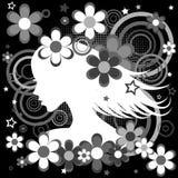 Fondo blanco y negro abstracto con perfil de la mujer, flores a Foto de archivo libre de regalías