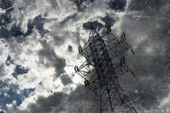 Fondo blanco y negro de la ciudad de la línea eléctrica del vintage Imagenes de archivo