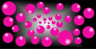 Fondo blanco y negro de la mezcla, efecto rosado de los globos 3d ilustración del vector