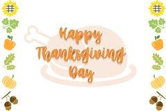 Fondo blanco y negro de la tarjeta de texto del día feliz de la acción de gracias con el fondo pumpkinHappy de la tarjeta de text ilustración del vector