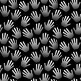 Fondo blanco y negro de las palmas inconsútiles de las manos stock de ilustración