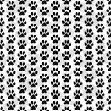 Fondo blanco y negro de Paw Prints Tile Pattern Repeat del perro Imagen de archivo