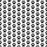 Fondo blanco y negro de Paw Prints Tile Pattern Repeat del perro Fotografía de archivo