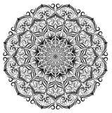 Fondo blanco y negro del estampado de flores del cordón de la mandala del vector La mandala monocromática del cordón del vector c stock de ilustración