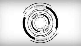 Fondo blanco y negro del movimiento de los círculos de la tecnología de HUD del extracto Animación de colocación inconsútil video ilustración del vector