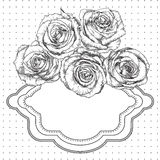 Fondo blanco y negro del vintage con las rosas Fotografía de archivo libre de regalías