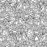 Fondo blanco y negro inconsútil Floral, étnico, elementos dibujados mano para el diseño Imagenes de archivo