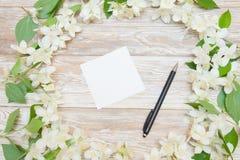 Fondo blando de la primavera con la tarjeta, la pluma y las flores blancas blank Imagen de archivo