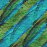 Fondo blu, arte verde dell'acquerello dell'ornamento Immagini Stock Libere da Diritti