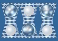 Fondo blu astratto con gli elementi metallici d'argento della sfera e di griglia, stile ottico di arte Fotografie Stock Libere da Diritti