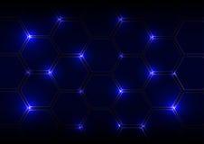 Fondo blu astratto con gli esagoni e la luce Immagine Stock