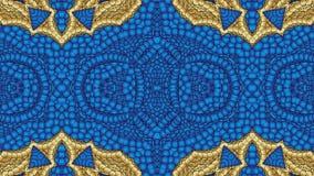 Fondo blu astratto con i modelli dell'oro per la progettazione di te Fotografia Stock Libera da Diritti