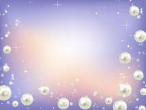 Fondo blu astratto con i perls Fotografia Stock