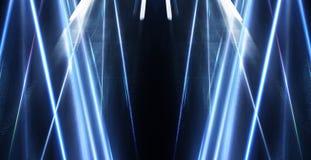Fondo blu astratto con i raggi di luce al neon, riflettore, riflessione sull'asfalto illustrazione vettoriale