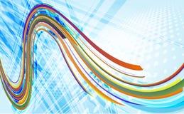 Fondo blu astratto con l'onda fresca di potere Fotografie Stock