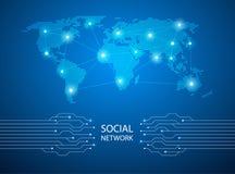 Fondo blu astratto con la mappa di mondo, linea di Internet collegata Fotografia Stock Libera da Diritti